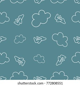 Seamless travel background made with white airplanes and clouds