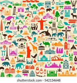 Seamless Travel Background with Sightseeing Attractions. Vector Illustration.