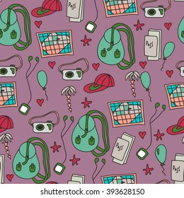 Seamless travel pattern with backpack, photo camera, passport, map, player on purple background. Vector illustration for textile and wallpaper design.