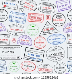 Seamless travel pattern with visa passport stamps. Vector illustration
