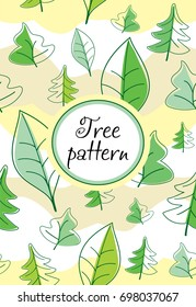 Seamless tree pattern in vector. Background with trees.