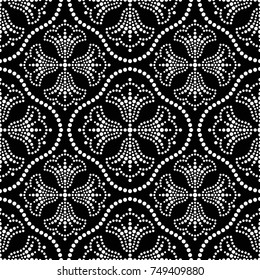 Seamless trellis pattern of dotted mosaic white tulip flowers in groups and beads. Floral motif. Vector Illustration.