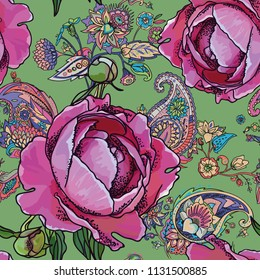 Seamless trend pattern - peony flowers and paisley.
