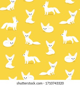 Seamless trendy animal pattern with fennec fox. Flat design print in cartoon style.
