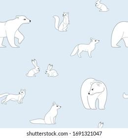Seamless trendy animal pattern with  polar fox, bear, hare and sable. Cartoon vector illustration.