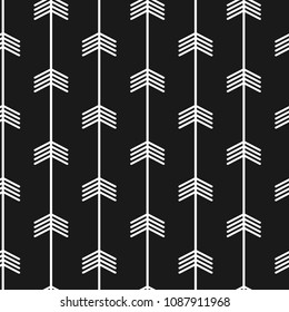 Seamless trendy arrow pattern. Black and white arrows with modern scandinavian style.