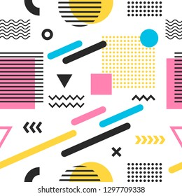 Seamless trendy colorful abstract pattern with geometric shapes