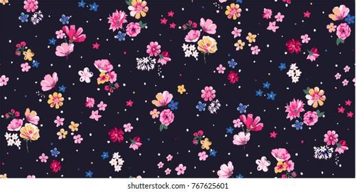 Seamless Trendy Floral Print Patern Design