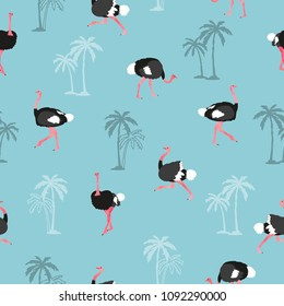 Seamless trendy pattern with ostrich and palm tree on blue background.