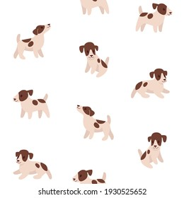 Seamless trendy pattern with style cartoon Jack Russell Terrier.