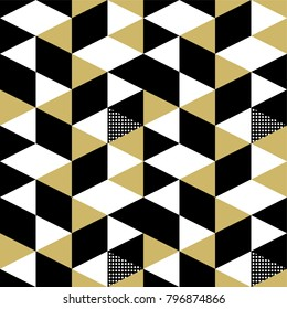 Seamless triangle memphis trandy 90s yellow, white and black. Pattern geometric illustration vector.