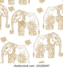 Seamless tribal elephant lace elegance pattern