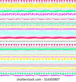 Seamless tribal geometric pattern background that is hand-drawn with markers. Aztec creative illustration.