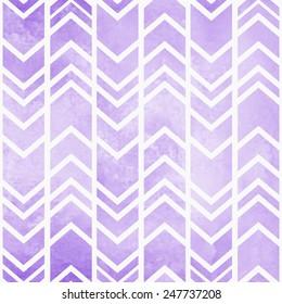 Seamless tribal ikat watercolor purple pattern on a grey background
