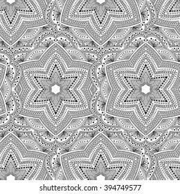Seamless tribal mandala pattern background. Mediative zentangle creative illustration.