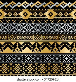 Seamless Tribal Metallic Pattern for Textile Design. Geometrical Ethnic Ornament in Flash Tattoo Style