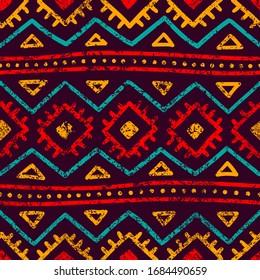 Seamless tribal pattern. Grunge texture. Bohemian style print. Vector illustration.