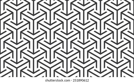 Seamless trilateral arrows isometric pattern vector