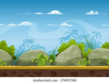 Seamless Tropical Beach Landscape For UI Game/ Illustration of a cartoon seamless summer tropical beach ocean background with palm trees, coconuts, boulders, stones for UI game
