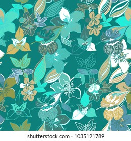 Seamless tropical exotic modern artistic floral, plants, leaves pattern. Trend design for card, textile, cloth, paper, cover, fabric, interior.