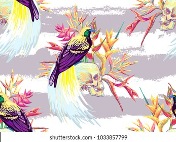 Seamless tropical exotic pattern with bird-of-paradise, skull, flowers. Bird of paradise vector background. Perfect for wallpapers, pattern fills, web page backgrounds, surface textures, textile