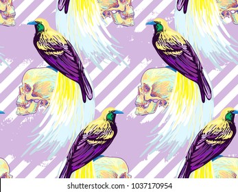 Seamless tropical exotic pattern with bird-of-paradise, skull. Bird of paradise vector background. Perfect for wallpapers, pattern fills, web page backgrounds, surface textures, textile