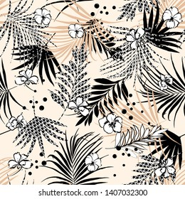 Seamless tropical floral pattern with flower and houndstooth fill-in leaves. Vector black and white illustration on beige background color design for fashion fabric web wallpaper and all prints