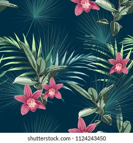 Seamless tropical flower pattern background. Orchid flowers, jungle leaves, on light background. Exotic print. Vintage  motives.