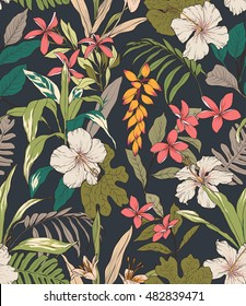 Seamless tropical flower pattern background