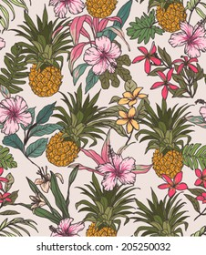 seamless tropical flower with pineapple vector pattern