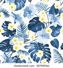 Seamless tropical flower. Tropical plumeria and blue palm leaves. Fabric swatch with paradise flowers isolated over white background. Blossom plumeria for seamless pattern background.