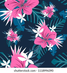 Seamless tropical flowers patern.Flowers card invitation.