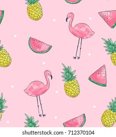 Seamless Tropical Fruits and Flamingo pattern in vector.