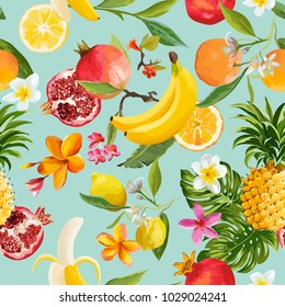 Seamless Tropical Fruits Pattern. Exotic Background with Pomegranate, Lemon, Flowers and Palm Leaves for Wallpaper, Wrapping Paper, Fabric. Vector illustration