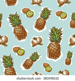 seamless tropical fruits pattern on blue