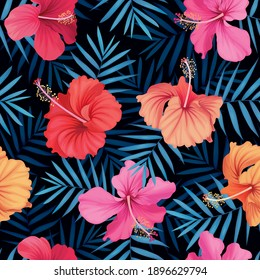 Seamless tropical hibiscus flowers and leaves background. Vector set of blooming floral for holiday invitations, greeting card and fashion design.
