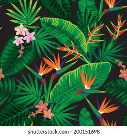 Seamless tropical jungle floral pattern with beautiful orchids and strelitzias. Vector illustration.