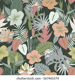 Seamless tropical jungle floral pattern with beautiful flowers