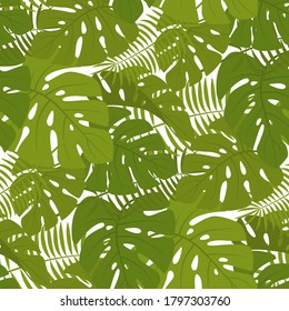 seamless tropical leaf pattern and background vector illustration