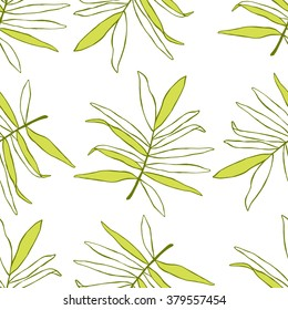 Seamless tropical leaf pattern. Vector illustration. White background.