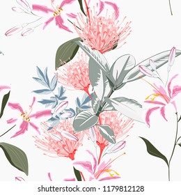 Seamless tropical lilies, protea and other exotic flower pattern background. Tropical flowers and ficus leaves, on light background. Exotic print. Vintage motives.