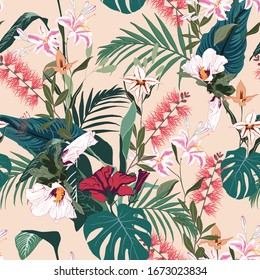 Seamless tropical lilies, protea and other exotic flower pattern background. Tropical flowers and  leaves, on light beige background. Exotic print. Vintage motives.