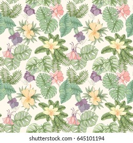 Seamless tropical palm leaves and flowers pattern. Summer endless hand drawn vector background of areca palm, banana leaves, hibiscus, lily can be used for wallpaper, wrapping paper, textile printing