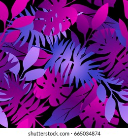 seamless tropical palms pattern. beautiful exotic abstract allover design. Palm leaves of different shapes in vibrant, neon colors. on dark background, for fashion, interior, stationery, web.