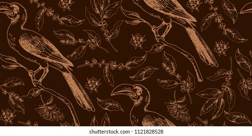 Seamless tropical pattern with african bird and botany