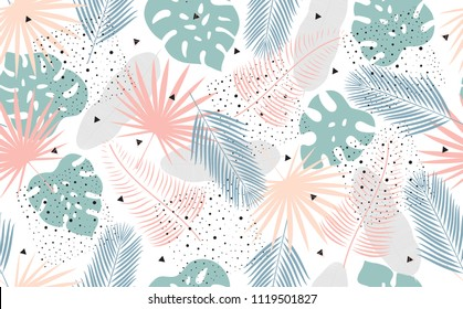 Seamless Tropical Pattern. Background with Exotic Plants Leaves. Fashion  Print .Vector illustration.