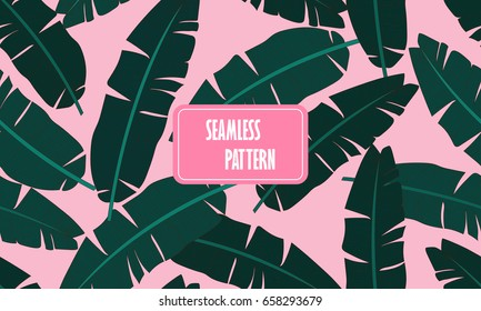 Seamless tropical pattern with banana leaves.