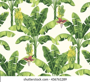 Seamless tropical pattern with banana palms. Vector illustration.
