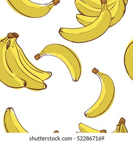 seamless tropical pattern with banana. Tasty fruit fresh color sketch illustration