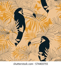 Seamless tropical pattern with beautiful toucans, vector illustration